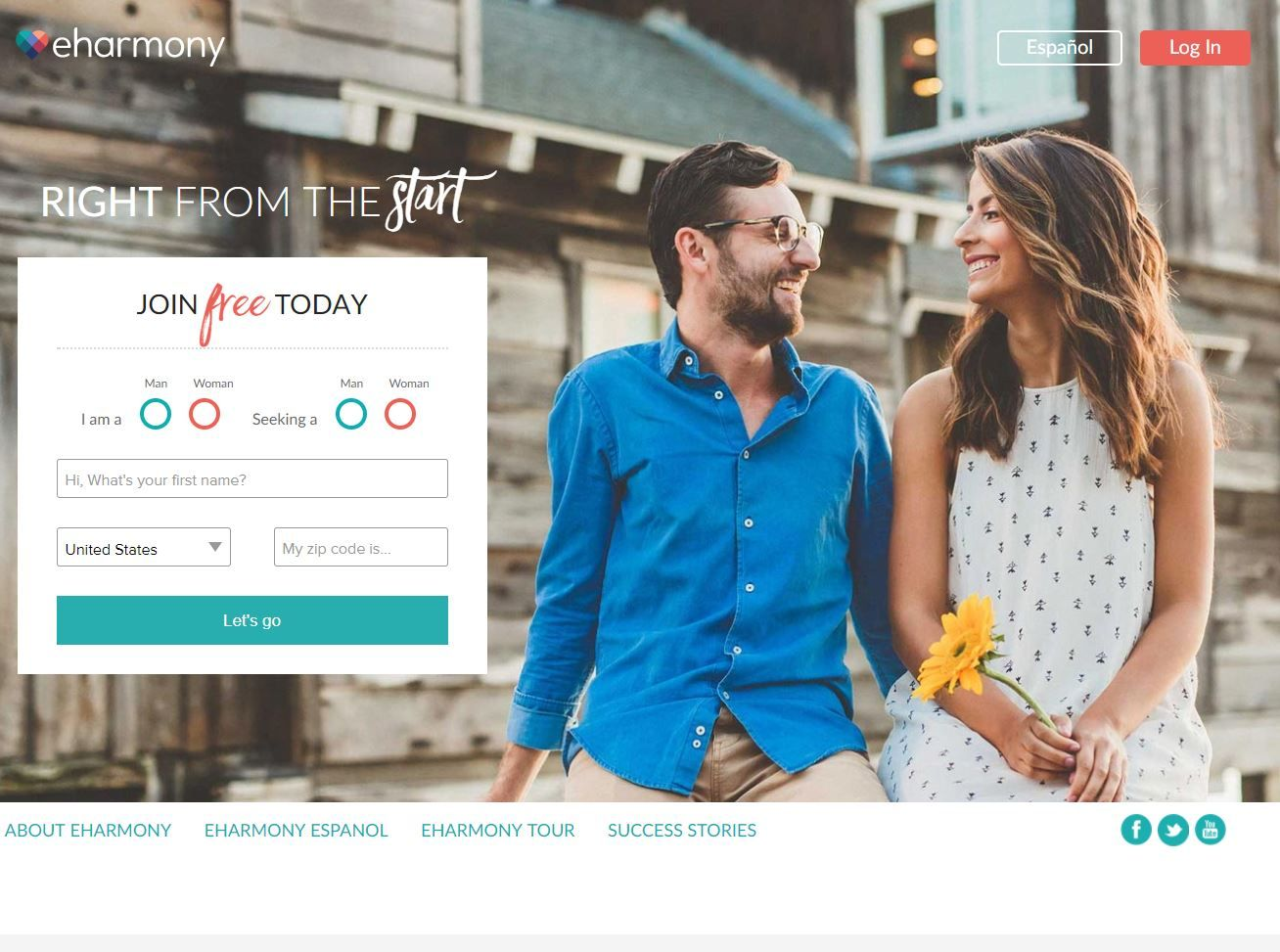 eharmony review homepage screenshot