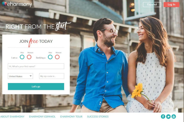 homepage screenshot of eHarmony