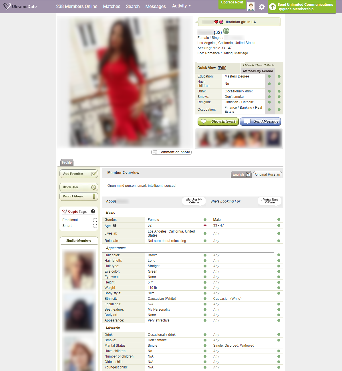 Ukraine Cupid profile screenshot