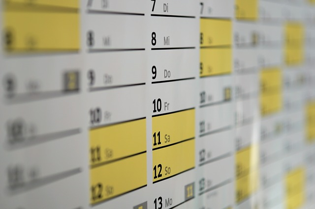 calendar with dates highlighted
