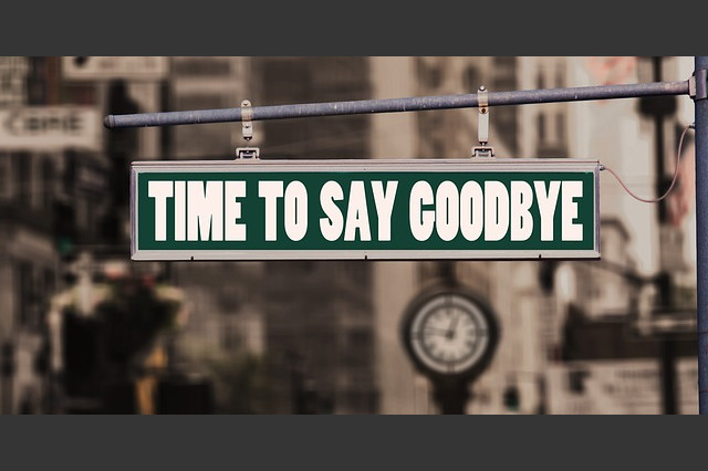 time to say goodbye sign
