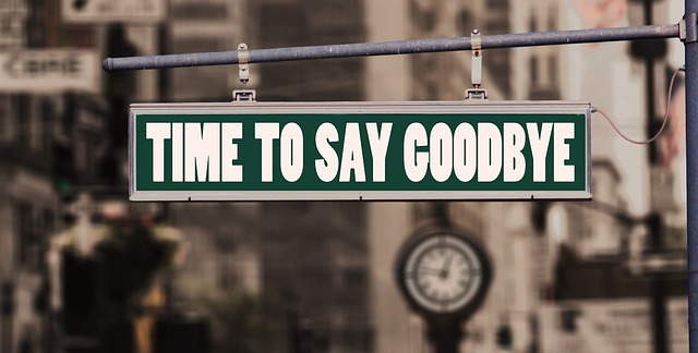 street sign that says time to say goodbye