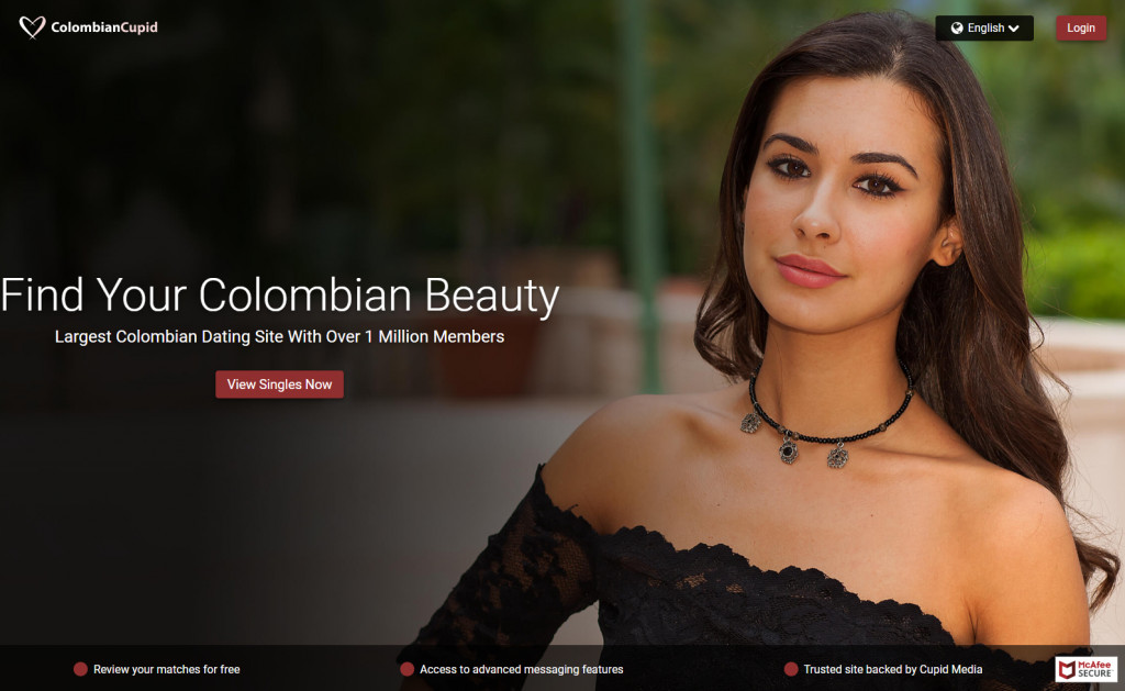 Homepage of dating site Colombian Cupid