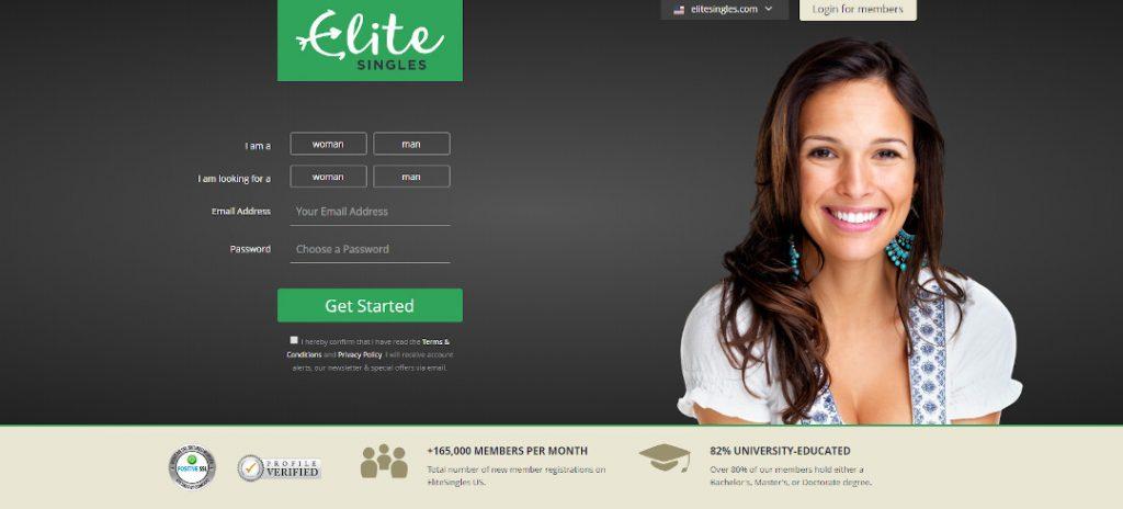 Screenshot of Elite Singles dating site