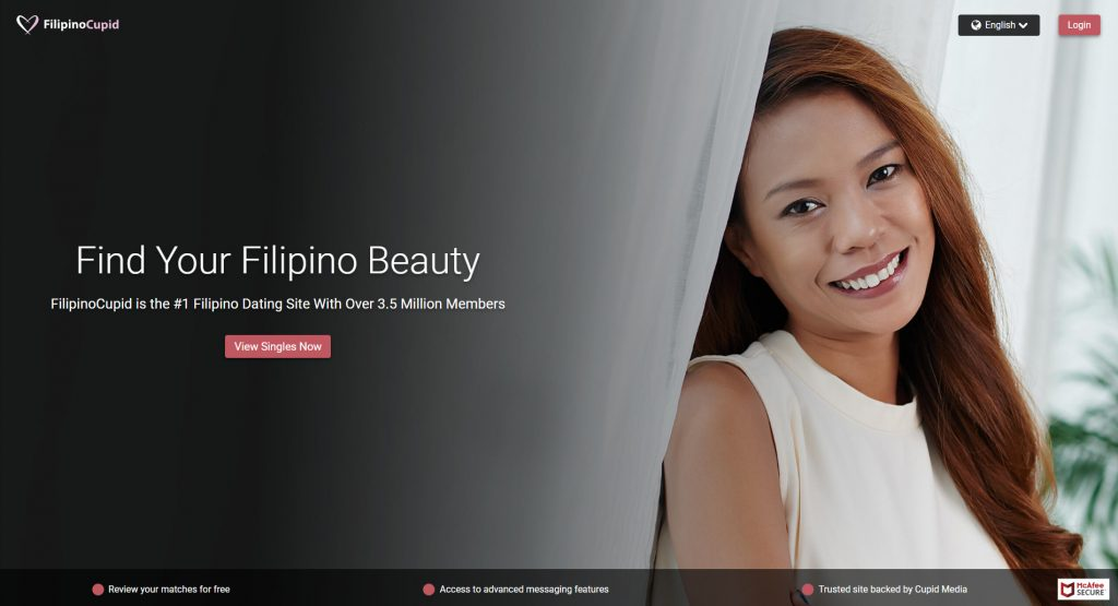Filipino Cupid homepage screenshot