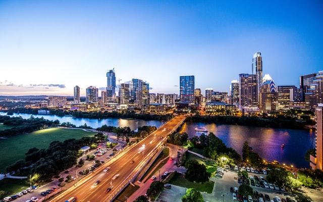 Dallas Texas at night over the river