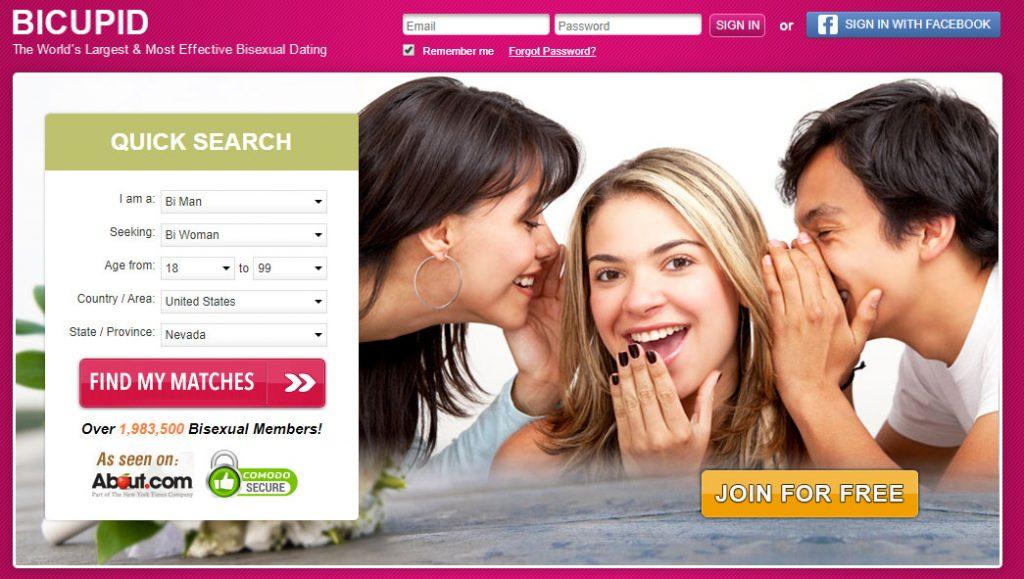 Screenshot of BiCupid homepage