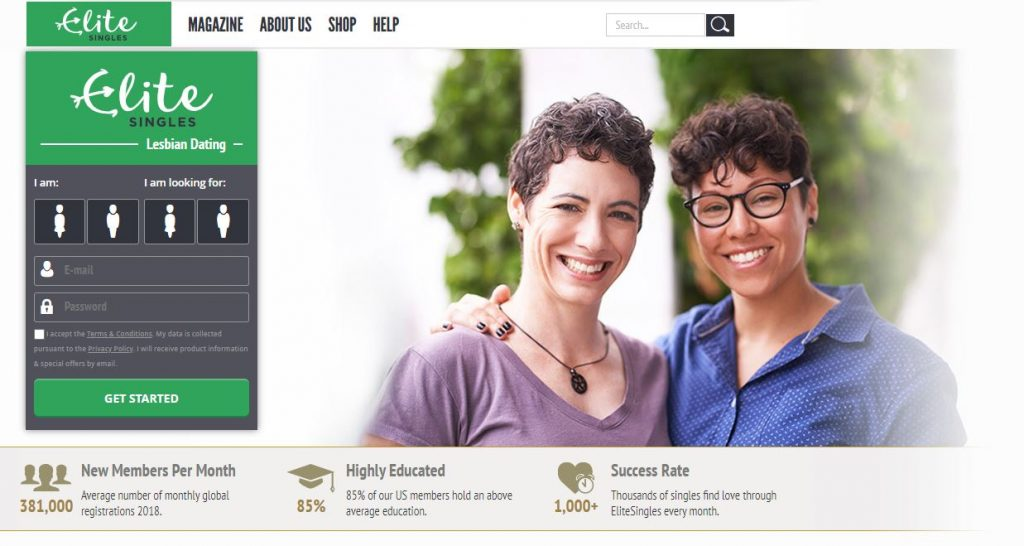 Screenshot of Elite Singles homepage with lesbian couple