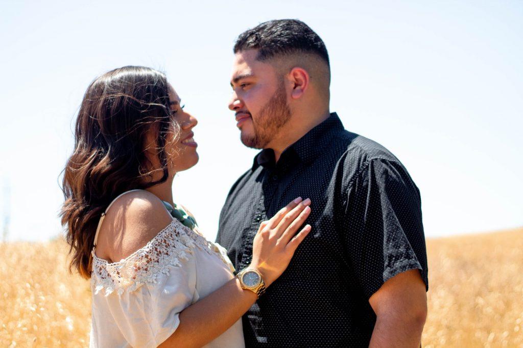 Latino couple embracing