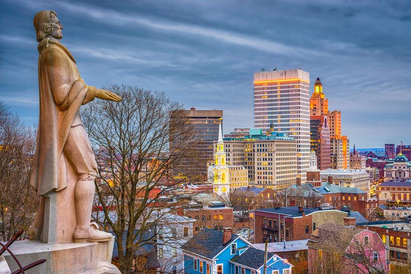 Providence, Rhode Island, USA downtown skyline and park at dusk.