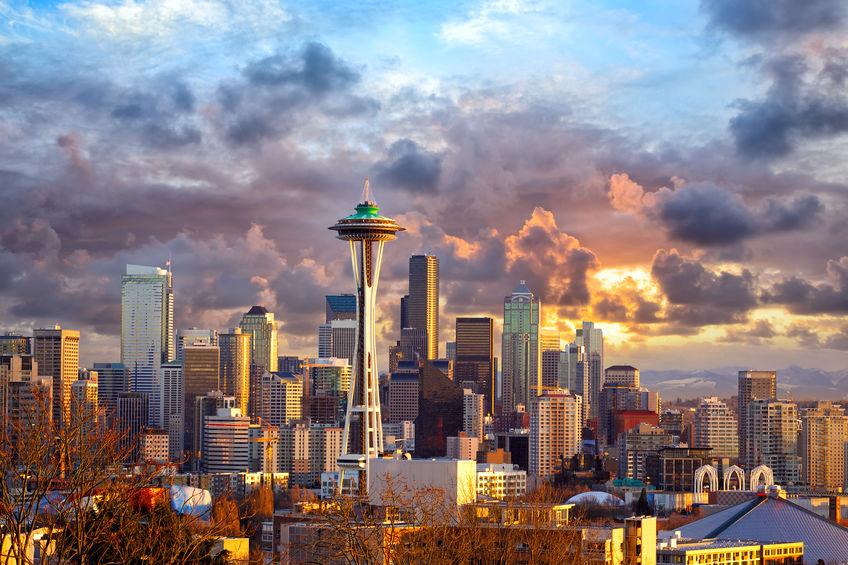Seattle skyline at sunset, WA, USA