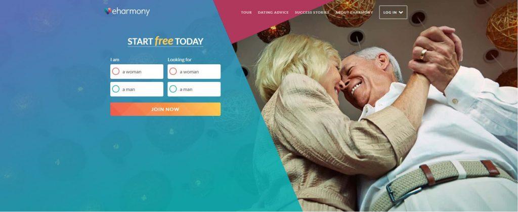 Screenshot of eHarmony with a senior couple