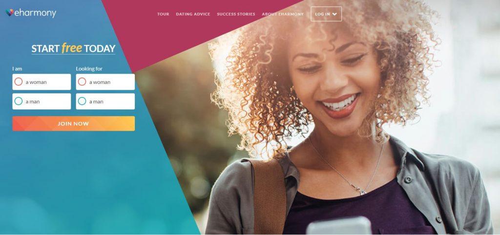 Homepage screenshot of eHarmony