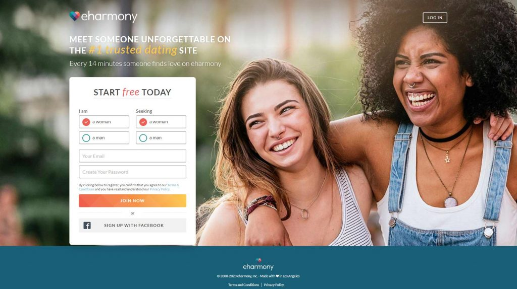 Two lesbian women on cover of eHarmony website